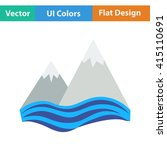 flat design icon of snow peaks...