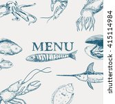 vector hand drawn seafood... | Shutterstock .eps vector #415114984