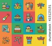 icon set party vector | Shutterstock .eps vector #415125151