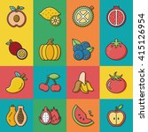 icon set fruit vector | Shutterstock .eps vector #415126954