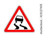 traffic road sign  slippery or... | Shutterstock .eps vector #415127455