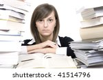 woman and a pile of books | Shutterstock . vector #41514796