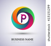 p letter colorful logo in the... | Shutterstock .eps vector #415151299