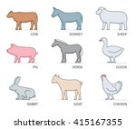 line icon set farm animals.... | Shutterstock . vector #415167355
