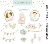 set of wedding ornaments and... | Shutterstock .eps vector #415177405