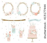 set of wedding ornaments and... | Shutterstock .eps vector #415177444