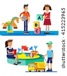 kids playing at playground.... | Shutterstock .eps vector #415223965