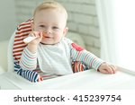 portrait of happy young baby... | Shutterstock . vector #415239754