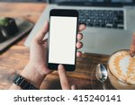 woman using smartphone white... | Shutterstock . vector #415240141