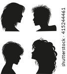 silhouettes of women hairstyles.... | Shutterstock .eps vector #415244461