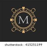 letter m  floral monogram. | Shutterstock .eps vector #415251199