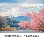 Mountain Fuji In Spring  Cherr...