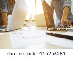 side view of laptop on work... | Shutterstock . vector #415256581