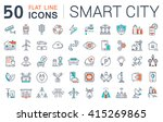 set vector line icons in flat... | Shutterstock .eps vector #415269865