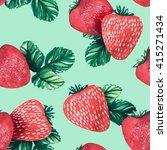 watercolor strawberries... | Shutterstock . vector #415271434