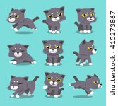 Stock vector cartoon character cat poses set 415273867