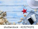 summer beach sea concept. blue... | Shutterstock . vector #415274191