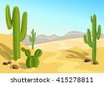 Cactus In The Desert. Natural...
