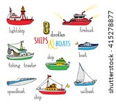 vector set of doodles ships and ... | Shutterstock .eps vector #415278877