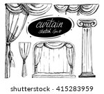 curtain sketch. vector set.... | Shutterstock .eps vector #415283959