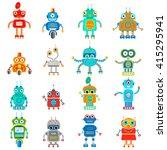 vector set of retro robots in... | Shutterstock .eps vector #415295941
