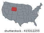 map   united states  wyoming | Shutterstock . vector #415312255