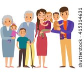 big family portrait. happy... | Shutterstock .eps vector #415314631