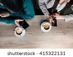 top view of couple in a cafe....   Shutterstock . vector #415322131