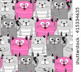 cute cats colorful seamless... | Shutterstock .eps vector #415334635