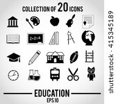 education icon set. vector... | Shutterstock .eps vector #415345189