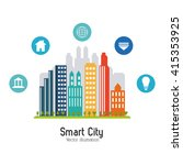 smart city design. social media ... | Shutterstock .eps vector #415353925