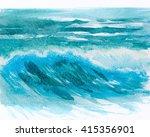 watercolor ocean waves...   Shutterstock . vector #415356901
