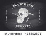 poster of barber shop label on... | Shutterstock .eps vector #415362871