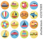 colorful transport icons set.... | Shutterstock . vector #415373305