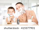 happy child have fun with dad...   Shutterstock . vector #415377901
