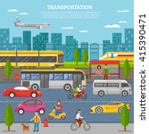 transport in city poster with... | Shutterstock .eps vector #415390471