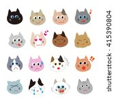 cat variation face icon  set | Shutterstock . vector #415390804