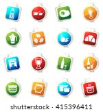 food and kitchen stickers label ... | Shutterstock .eps vector #415396411