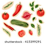 a set of vegetables  hand drawn ... | Shutterstock . vector #415399291