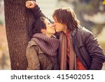romantic couple in love at the... | Shutterstock . vector #415402051