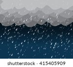 Heavy Rain In Dark Sky  Vector...