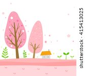 spring background with cherry... | Shutterstock .eps vector #415413025