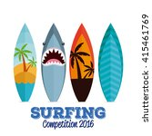 set of surfboards with... | Shutterstock .eps vector #415461769