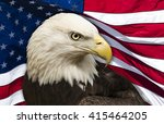 bald eagle against an american... | Shutterstock . vector #415464205