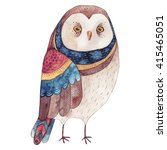 Stock photo watercolor funny kids illustration with owl hand drawn animal drawing owl bird painting perfect 415465051