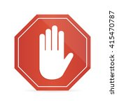 no  entry hand sign on white... | Shutterstock .eps vector #415470787