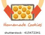 homemade cookies on a pan ... | Shutterstock .eps vector #415472341