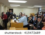 Small photo of NEW YORK CITY - MAY 3 2016: Activists appeared before the NYC Board of Elections to protest alleged irregularities in registering voters & counting affidavit ballots. Peter Lindner addresses board