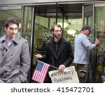 Small photo of NEW YORK CITY - MAY 3 2016: Activists appeared before the NYC Board of Elections to protest irregularities in registering voters & counting affidavit ballots. Addressing group prior to entering
