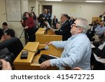 Small photo of NEW YORK CITY - MAY 3 2016: Activists appeared before the NYC Board of Elections to protest irregularities in registering voters & counting affidavit ballots. Candidate Peter Lindner addresses board